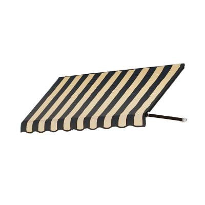 25 ft. Dallas Retro Window/Entry Awning (24 in. H x 42 in. D) in Black/Tan Stripe