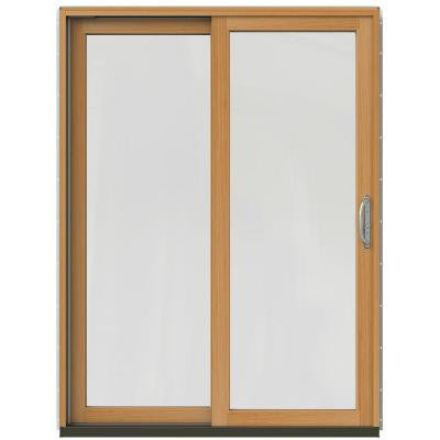 59-1/4 in. x 79-1/2 in. W-2500 Mesa Red Left-Hand Clad-Wood Sliding Patio Door with Stain Fruitwood Interior