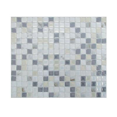 Minimo Noche 11.55 in. x 9.64 in. Adhesive Decorative Wall Tile Backsplash in Grey (12-Piece)