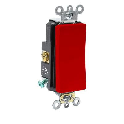 20 Amp 120/277-Volt Antimicrobial Treated Decora Plus Single-Pole Rocker Switch - Red