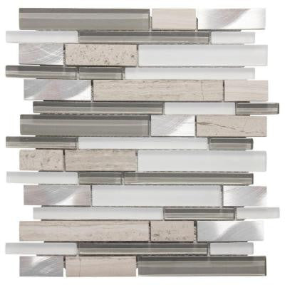 Moon Patrol 11.75 in. x 12 in. x 8 mm Glass/Metal/Limestone Mosaic Wall Tile