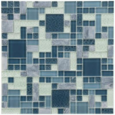 Tessera Versailles Gulf 11-3/4 in. x 11-3/4 in. x 8 mm Glass and Stone Mosaic Wall Tile