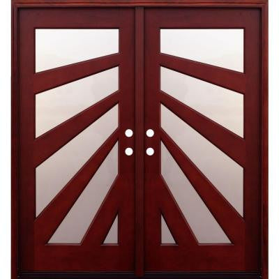 72 in. x 80 in. Contemporary 5 Lite Fan Stained Mahogany Double Wood Prehung Front Door with 6 in. Wall Series
