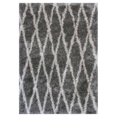 Trellis Shag Gray 5 ft. 3 in. x 7 ft. 7 in. Area Rug