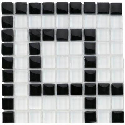 Tessera Ice White Greek Key 5-7/8 in. x 5-7/8 in. x 8 mm Glass Corner Mosaic Wall Tile