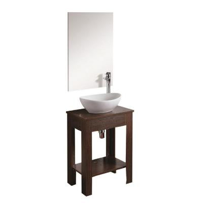 20 in. W x 14 in. D x 33 in. H Vanity in Dark Brown Finish with Ceramic Vanity Top in White