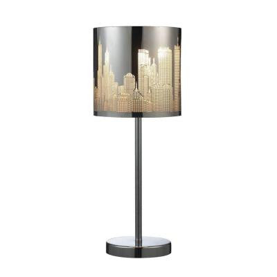 Skyline 20 in. Polished Stainless Steel Portable Lamp with Shade