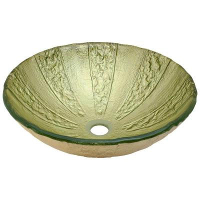Glass Vessel Sink in Gold Foil