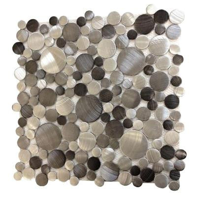 Urban Sepia Bubbles 12 in. x 12 in. x 8 mm Metal Mosaic Tile