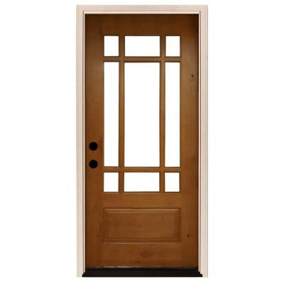 36 in. x 80 in. Craftsman 9 Lite Stained Knotty Alder Wood Prehung Front Door