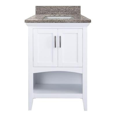 Brattleby 25 in. W x 22 in. D Vanity in White with Granite Vanity Top in Sircolo with White Basin