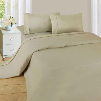 1200 Series Bone 75 gsm Queen Microfiber Sheet Set (4-Piece)