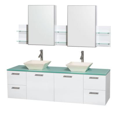Amare 72 in. Double Vanity in Glossy White with Glass Vanity Top in Green, Porcelain Sinks and Medicine Cabinet