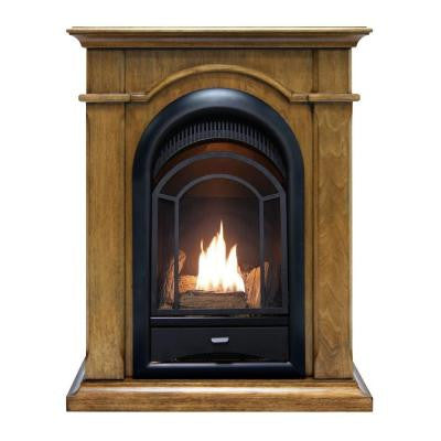 28 in. Convertible Vent-Free Dual Fuel Gas Fireplace in Almond Finish