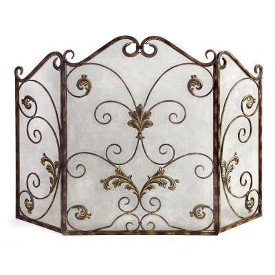 Lenor 33.5 in. Bronze Wrought Iron Fireplace Screen