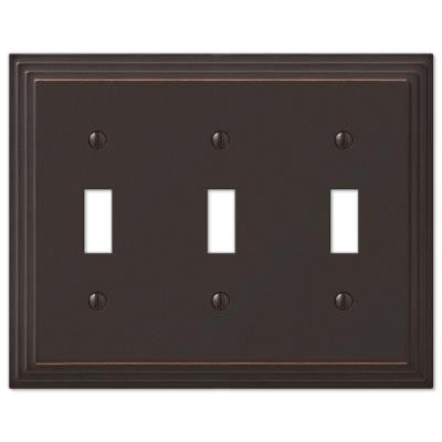 Steps 3 Toggle Wall Plate - Aged Bronze