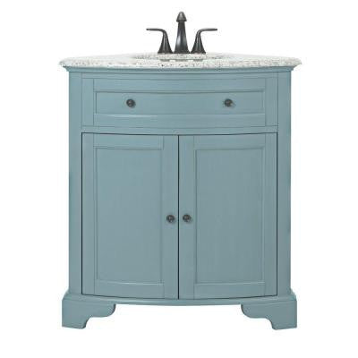 Hamitlon 30 in. W Corner Vanity in Sea Glass with Granite Vanity Top in Grey and White Basin