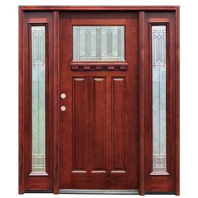 68 in. x 80 in. Diablo Craftsman 1 Lite Stained Mahogany Wood Prehung Front Door with Dentil Shelf and 12 in. Sidelites