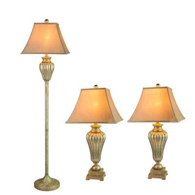 Silver Metal and Glass Lamp Set (3-Piece)
