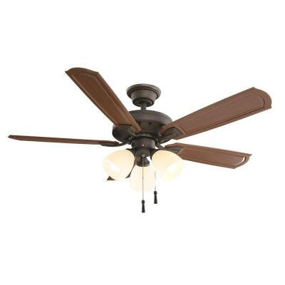 Tucson 48 in. Oil Rubbed Bronze Indoor/Outdoor Ceiling Fan with Shatter Resistant Light Shades