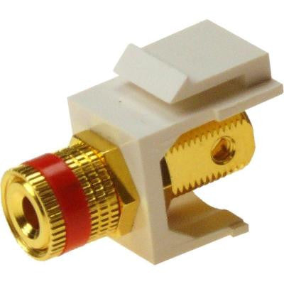 Speaker Post Red Snap-In Keystone Jack - White