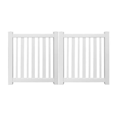 Austin 9 ft. x 4 ft. White Vinyl Pool Double Fence Gate