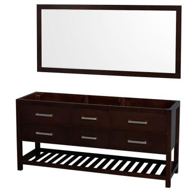 Natalie 72 in. Double Vanity Cabinet with 70 in. Mirror in Espresso