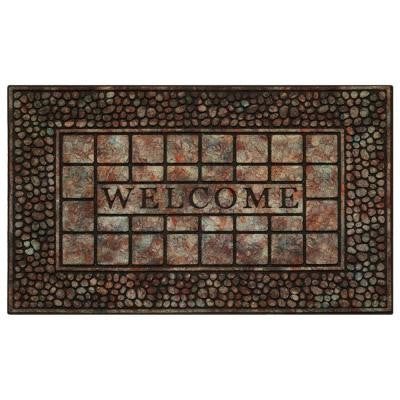 Pebble Squares 18 in. x 30 in. Raised Rubber Door Mat
