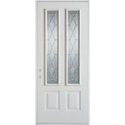32 in. x 80 in. Art Deco 2 Lite 2-Panel Prefinished White Steel Prehung Front Door