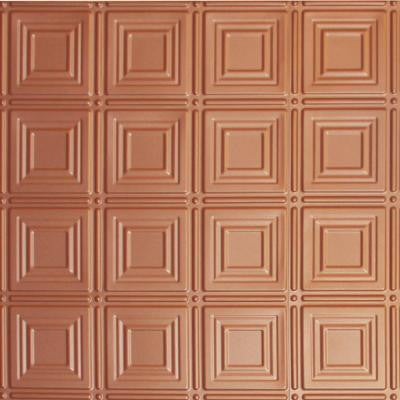 Dimensions 2 ft. x 2 ft. Copper Tin Ceiling Tile for Refacing in T-Grid Systems