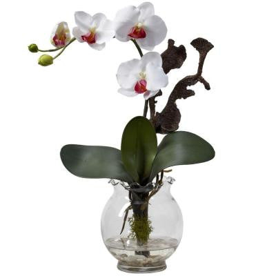 15 in. H White Mini Phalaenopsis with Fluted Vase Silk Flower Arrangement