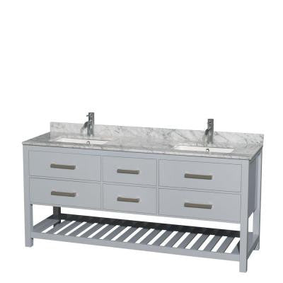 Natalie 72 in. W x 22 in. D Vanity in Gray with Marble Vanity Top in Carrara White with White Basins