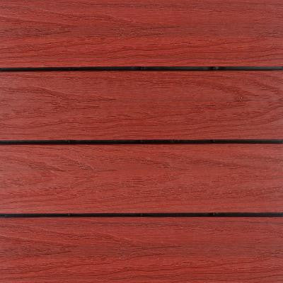 UltraShield Naturale 1 ft. x 1 ft. Outdoor Composite Quick Deck Tile Sample in Swedish Red