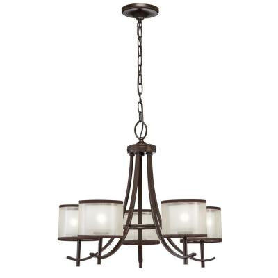 5-Light Bronze Ceiling Chandelier with Organza Shade