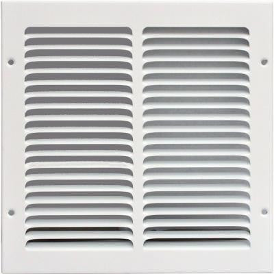 10 in. x 10 in. Return Air Vent Grille, White with Fixed Blades