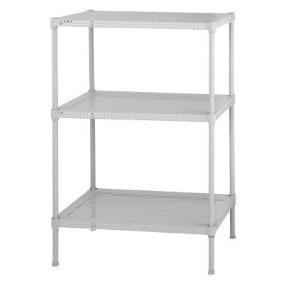 28 in. H x 24 in. W x 12 in. D 3-Tier Perforated Steel Shelving Unit in White