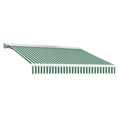 16 ft. DESTIN EX Model Left Motor Retractable with Hood Awning (120 in. Projection) in Forest Green and White Stripe