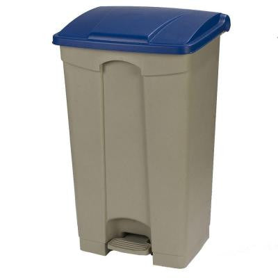 23 Gal. Beige Rectangular Touchless Step-On Trash Can with Blue Lid