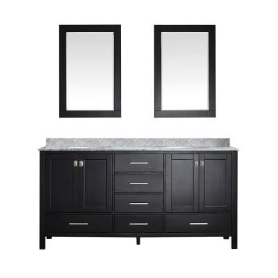 Gela 72 in. W x 22 in. D x 35 in. H Vanity in Espresso with Marble Vanity Top in White with Basin and Mirror