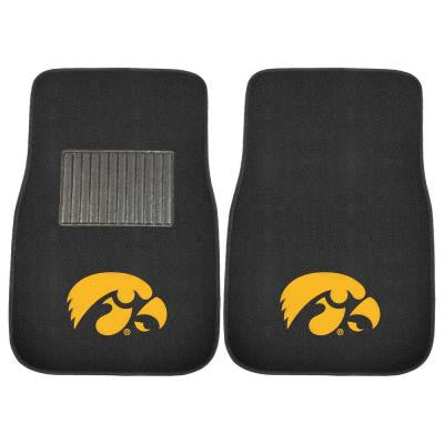NCAA University of Iowa 2-Piece 17 in. x 25.5 in. Carpet Embroidered Car Mat