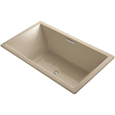 Underscore 6 ft. VibrAcoustic Center Drain Soaking Tub in Mexican Sand with Bask Heated Surface