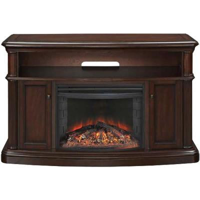 56 in. Linton Media Mantel Electric Fireplace in Cherry