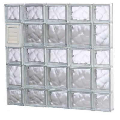 34.75 in. x 32.75 in. x 3.125 in. Wave Pattern Glass Block Window with Dryer Vent