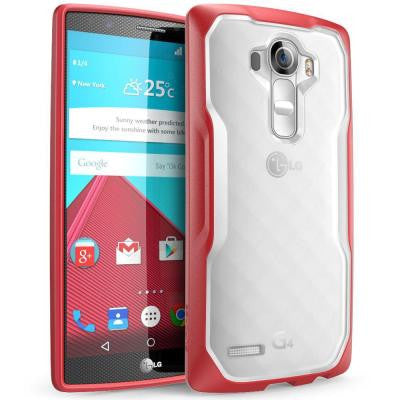 Unicorn Beetle Hybrid Bumper Case for LG G4 - Clear/Red