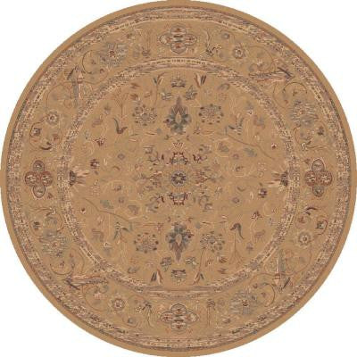 Sultanabad Champagne 5 ft. 3 in. x 5 ft. 3 in. Round Indoor Area Rug