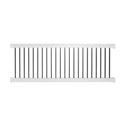 Vilano 36 in. x 72 in. Vinyl White with Square Black Aluminum Spindles Straight Railing Kit