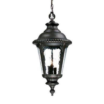 Surrey Collection Hanging Outdoor 3-Light Black Gold Light Fixture