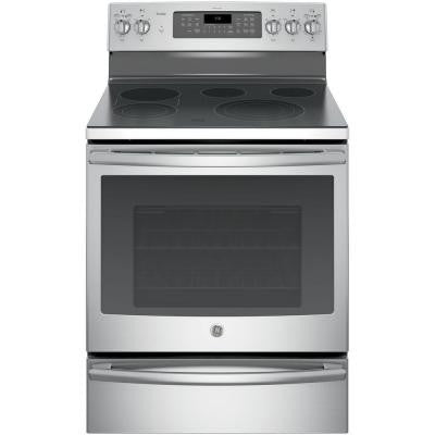 Profile 30 in. 5.3 cu. ft. Electric Range with Self-Cleaning Convection Oven in Stainless Steel
