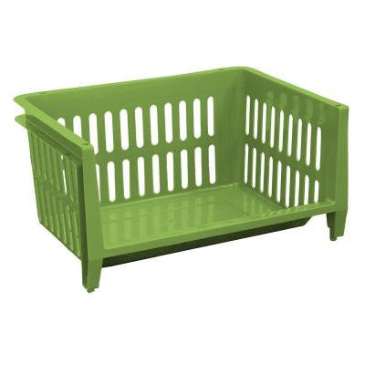 19 in. W x 14 in. D x 10 in. H Jumbo Storage Stacking Basket in Apple Green