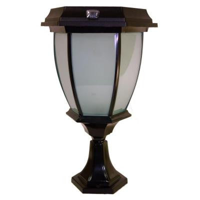 Solar Black LED Outdoor Warm White Coach Light with Convex Glass Panels and Flat or Post Mount